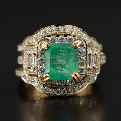 14K 2.45 CT Emerald and 1.42 CTW Diamond Ring and Shadow Band Set