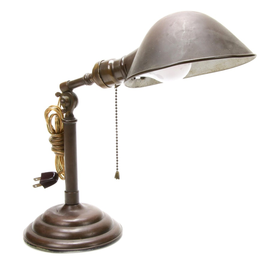 Adjustable Arm Pull Chain Table Lamp, Mid-20th Century