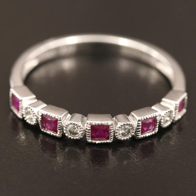 14K Ruby and Diamond Bezel Set Band