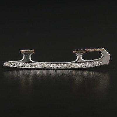 Palladium Diamond Ice Skate Blade Pin with 14K White Gold Accents