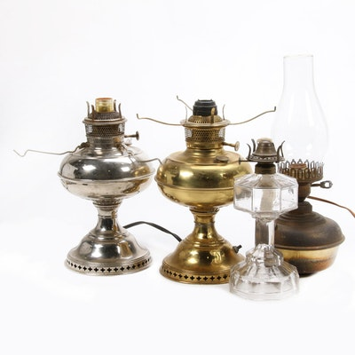 Bradley and Hubbard Converted Brass Oil Lamp Base and More, Antique