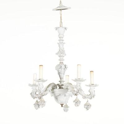 Capodimonte Style Italian White Porcelain Rose Chandelier