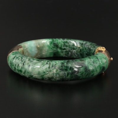 Asian 14K Carved Jadeite Hinged Bangle Bracelet
