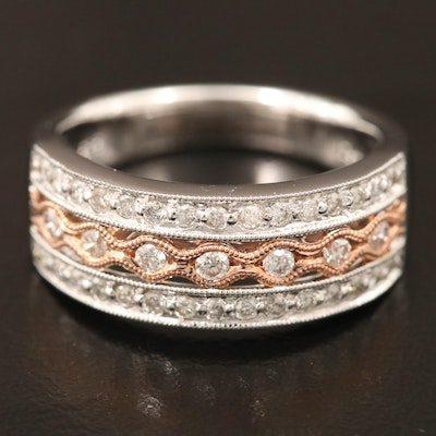 14K Two Tone Gold, Triple Row Diamond Band with Milgrain Detail