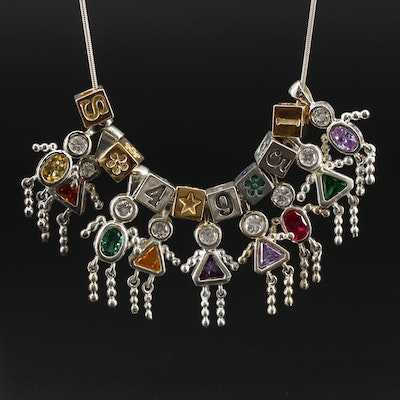 Sterling Cubic Zirconia and Enamel Figural Charm Necklace