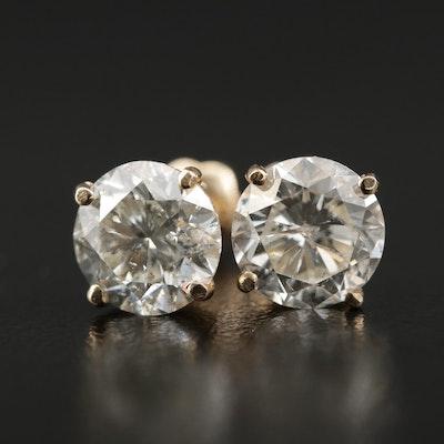 14K Gold 3.16 CTW Diamond Stud Earrings
