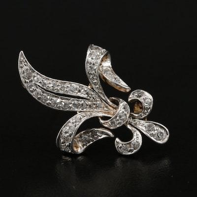Vintage 14K Gold Diamond Stylized Fleur de Lis Brooch with Platinum Top