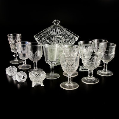 "L.G. Wright ""Daisy and Hobstar"" with Fostoria and Other Cut Glass Stemware"