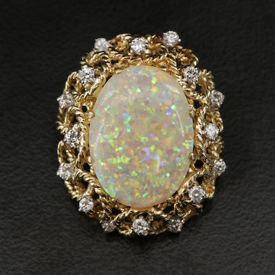 18K Gold Opal and Diamond Openwork Slide Pendant