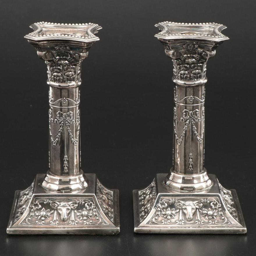 D J Silver Repairs of London Sterling Silver Candlesticks, 1968