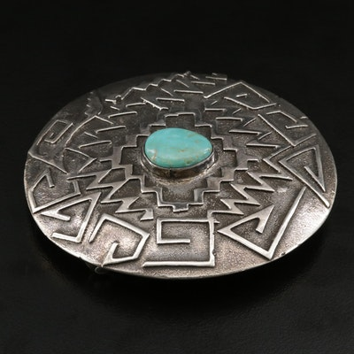 Western Style Sterling Silver Turquoise Belt Buckle