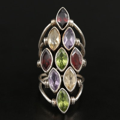 Sterling Silver Multi-Gemstone Marquise Cluster Ring
