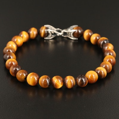 "David Yurman Sterling Silver ""Spiritual Beads"" Tiger's Eye Bracelet"