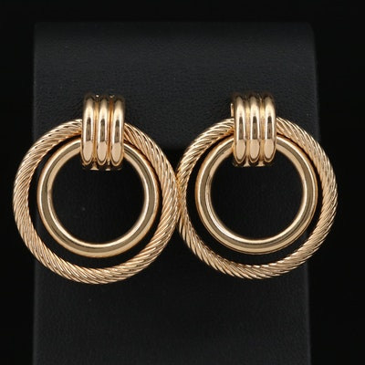 14K Twisted Double Hoop Doorknocker Earrings