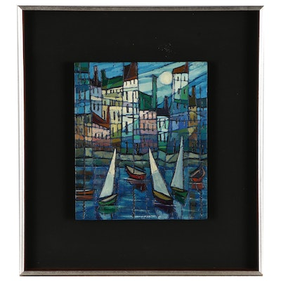 Pati Bannister Abstract Nautical Oil Painting