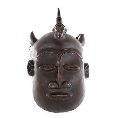 Makonde Wood Carved Mask with Goat Horn, 20th Century
