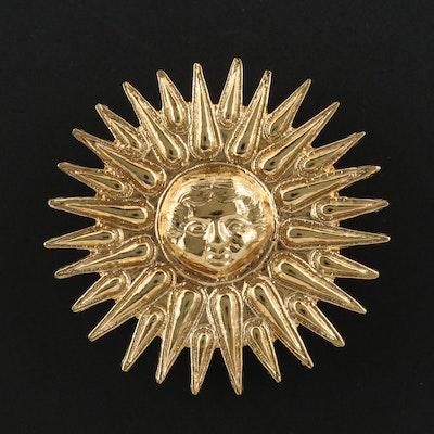 Arthus Bertand Sun Face Converter Brooch