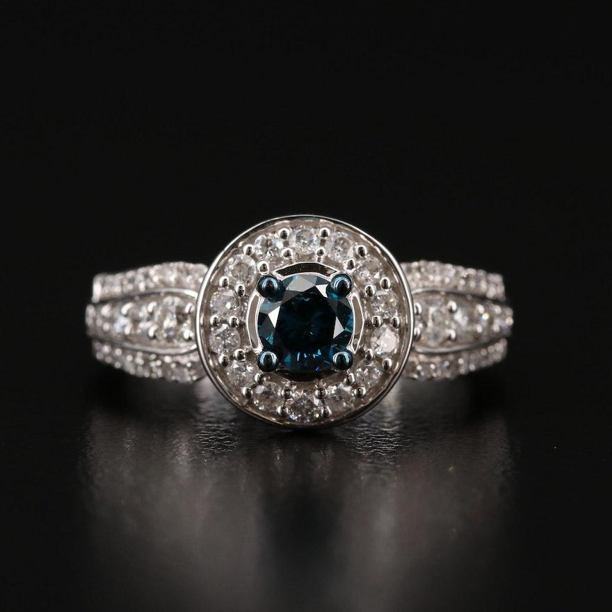 10K 1.02 CTW Diamond Ring Featuring a Blue Diamond