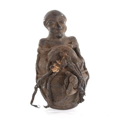 Mangbetu Figurative Ceramic Vessel, 20th Century