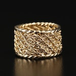 14K Cigar Band Ring with Rope Detailing