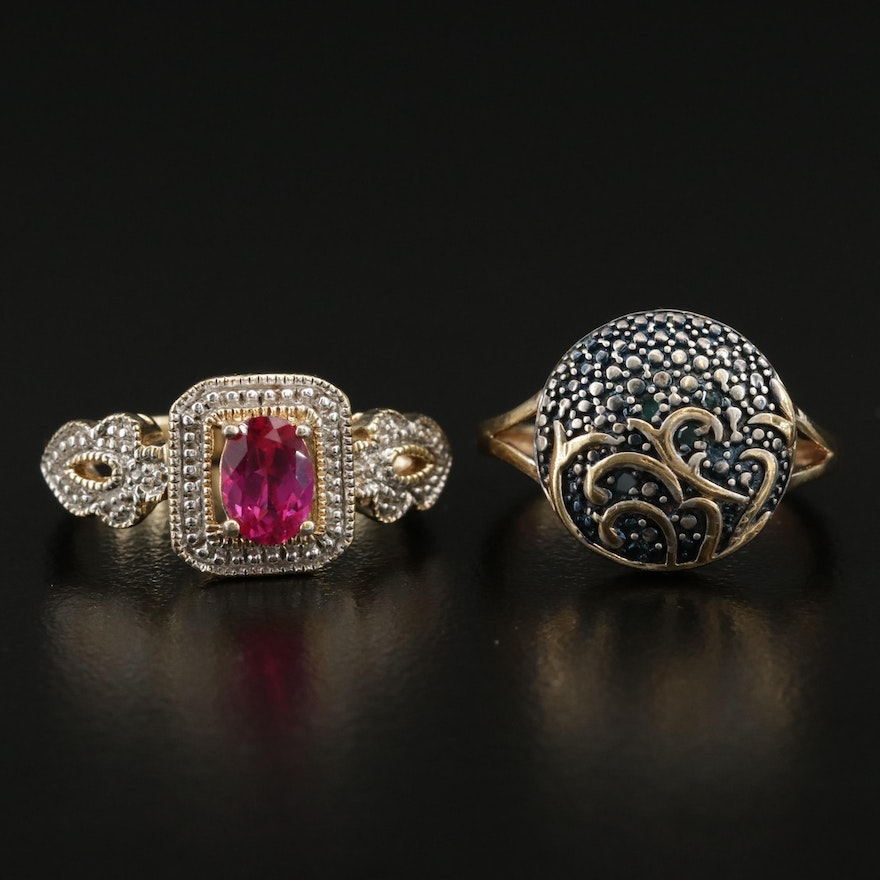 Sterling Silver Rings Including Diamonds and Ruby Accents