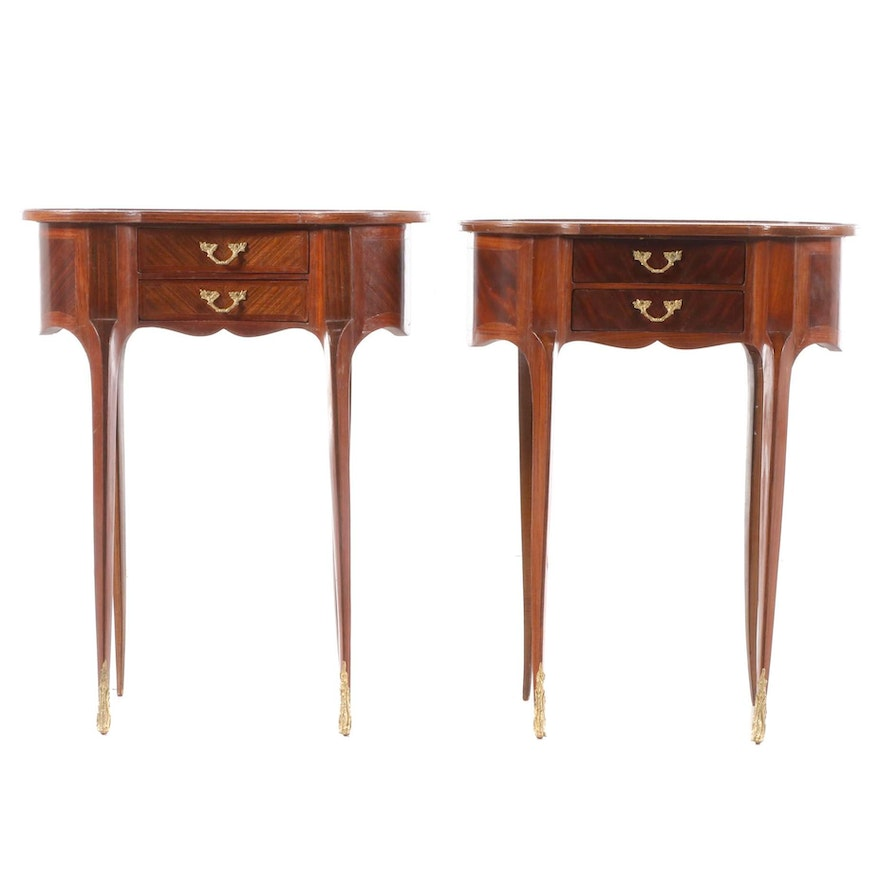 Pair of Louis XV Style Gilt Metal-Mounted Mahogany and Tulipwood Table de Chevet
