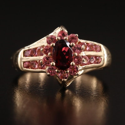 14K Garnet and Pink Tourmaline Ring