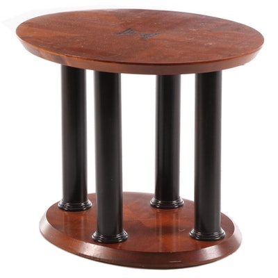 Lane Furniture Neoclassical Style Ebonized Wood Oval End Table, Late 20th C.