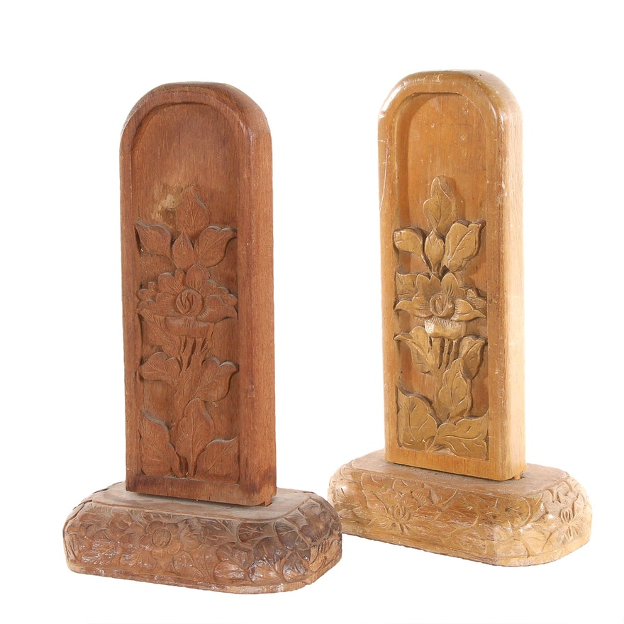 Southeast Asian Decorative Carved Wood Pieces, 20th Century