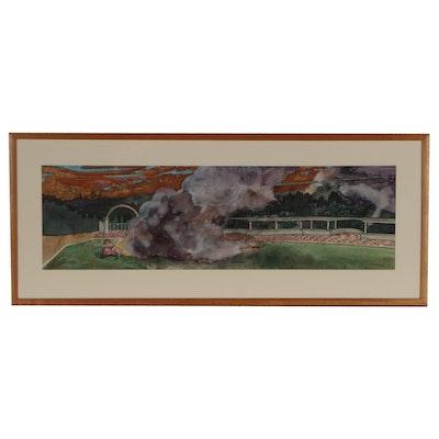 "Thomas Stanton Mixed Media Painting ""Tam Tam"", 1984"