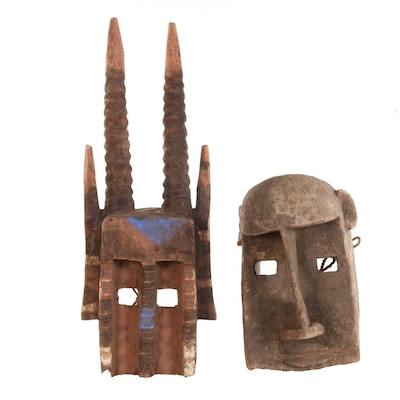 Dogon Wooden Masks of Antelope and Monkey Forms, Late 20th Century