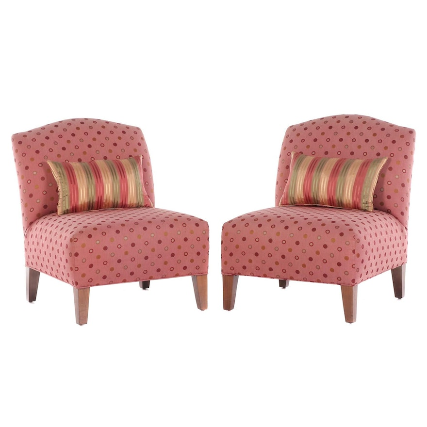 Pair of Pink Polka Dot Slipper Chairs