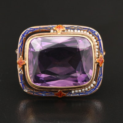 14K Gold 20.00 CT Amethyst, Seed Pearl and Enamel Brooch