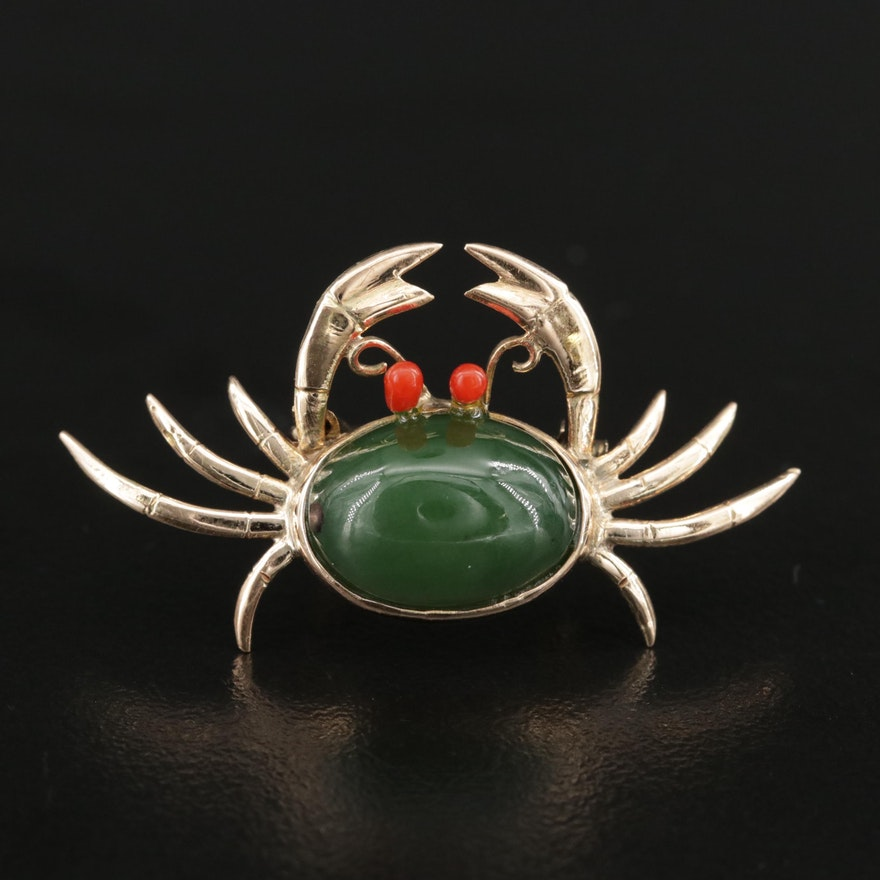 """1950's 14K Nephrite Crab Brooch Featuring Red Glass """"Eyes"""""""