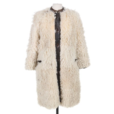 Albert Alfus Mongolian Lamb Fur Coat with Leather Trim, 1970s Vintage