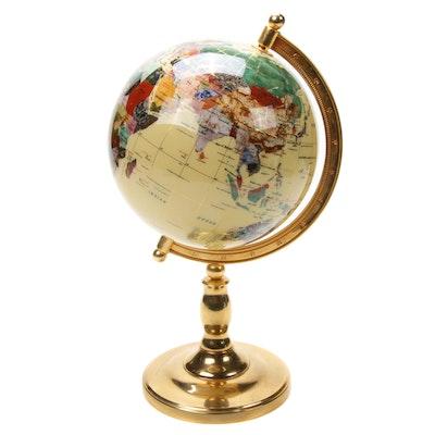 Semi-Precious Gemstone Tabletop Globe
