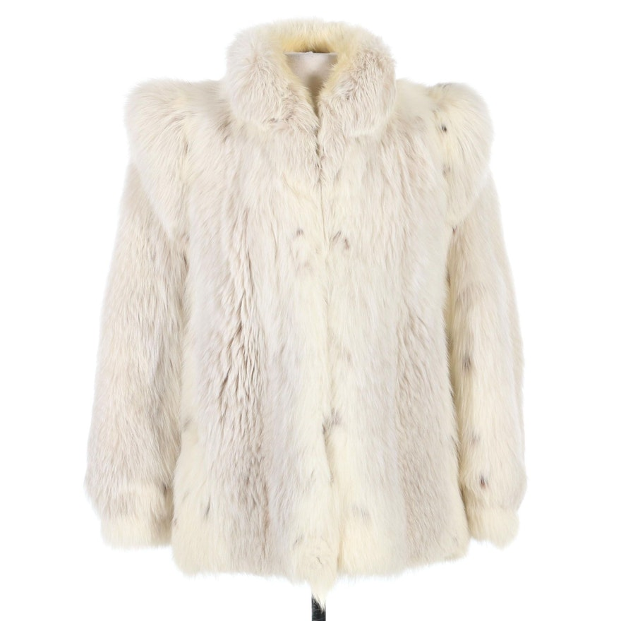 Mutation Fox Fur Jacket with Banded Cuffs, 1980s Vintage