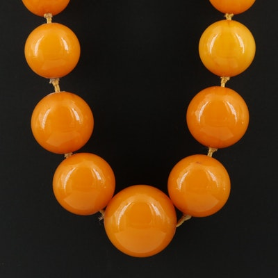 Mutton Fat Amber Graduated Knotted Necklace with 14K Clasp