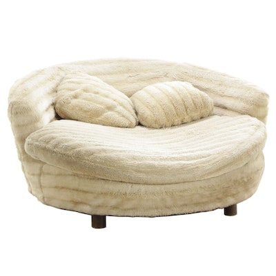 Mid Century Modern Faux Fur Upholstered Lounge Chair, Mid 20th Century