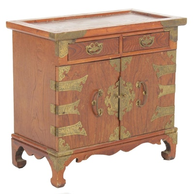 Korean Elm and Brass-Mounted Side Cabinet