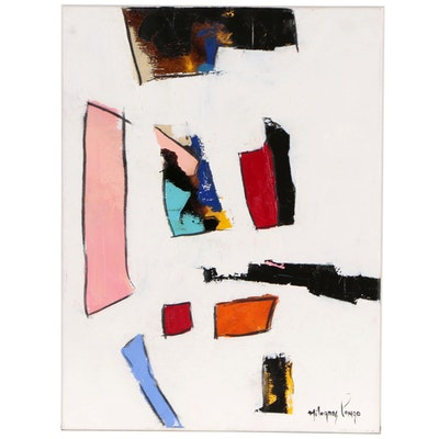 Milagros Pongo Abstract Mixed Media Painting, 21st Century