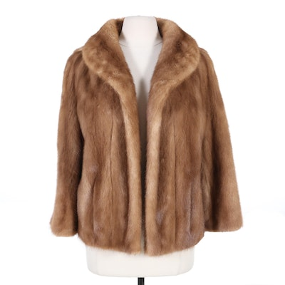 Mink Fur Open Front Jacket, Mid-20th Century
