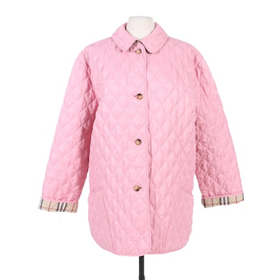 "Burberry Quilted Pink Button-Front Coat with ""Nova Check"" Lining"