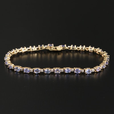 14K Gold Tanzanite and Diamond Line Bracelet