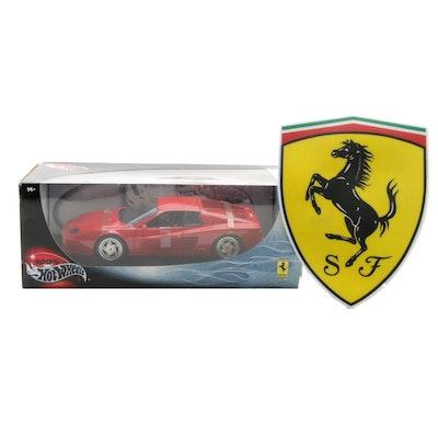 Mattel Hot Wheels Diecast Ferrari Toy in Original Packaging and Logo Mousepad