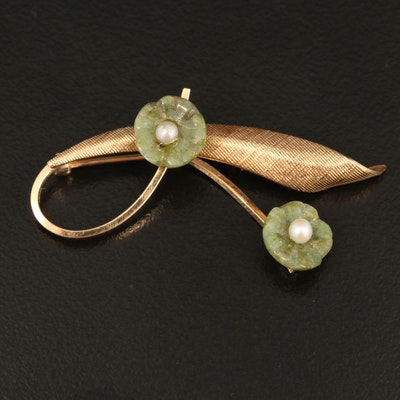 Vintage 14K Serpentine and Seed Pearl Flower Brooch with Textured Finish