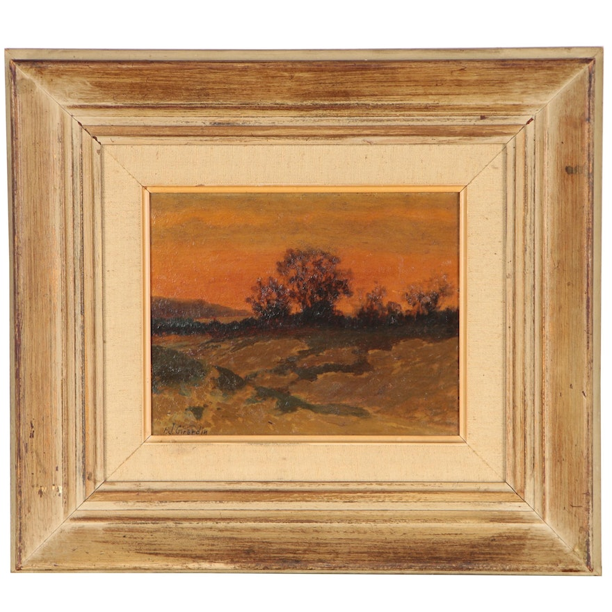 Frank Girardin Landscape Oil Painting, Early 20th Century