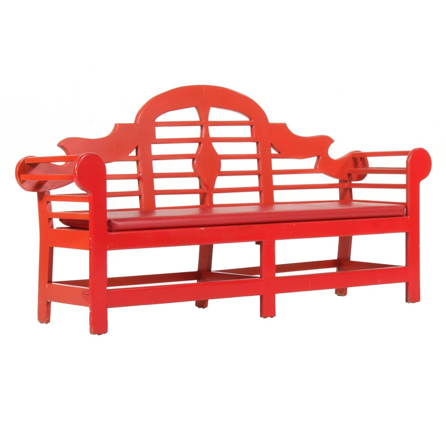 Chinese Red Painted Lutyens Bench, Mid to Late 20th Century