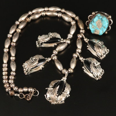 Western Sterling Turquoise Ring and Black Onyx Feather Motif Necklace