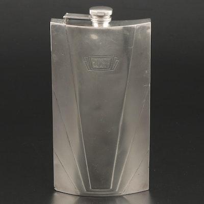 International Watrous Art Deco Sterling Silver Hip Flask, Early 20th Century